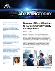 Latest <em>Adjusting Today</em> Addresses Recent Revisions to ISO Commercial Property Coverage Forms
